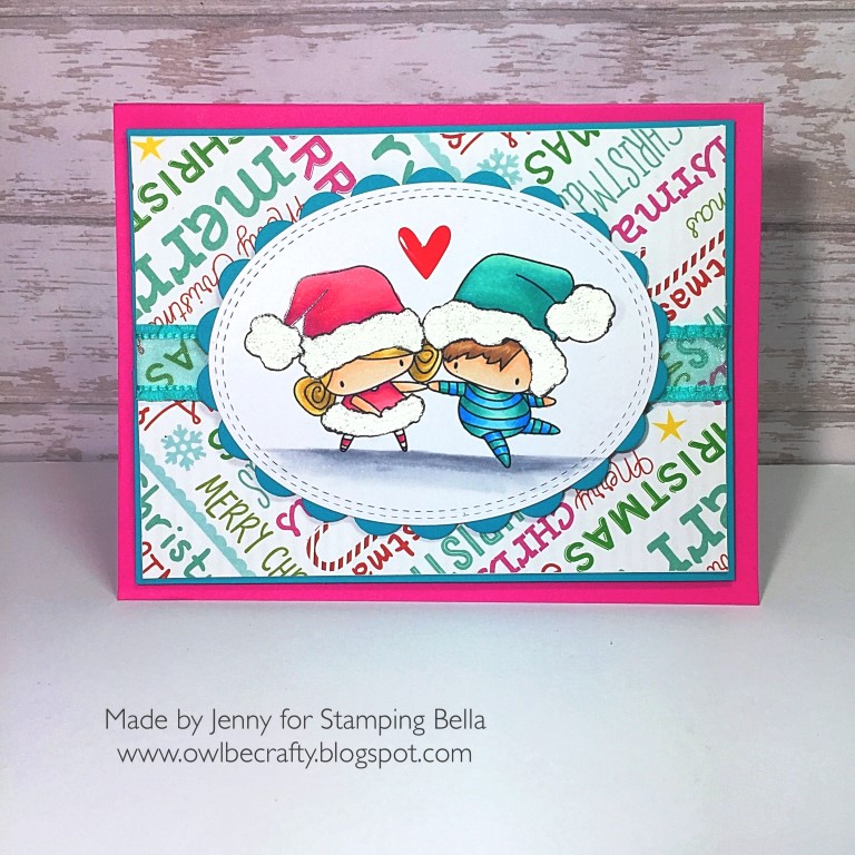 STAMPING BELLA HOLIDAY 2017 RELEASE: RUBBER STAMPS USED: LITTLE BITS SANTA KIDS AND PETS SET, CARD BY JENNY BORDEAUX
