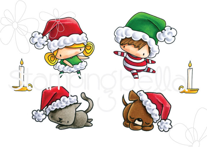 STAMPING BELLA RUBBER STAMP: LITTLE BITS SANTA KIDS AND PETS