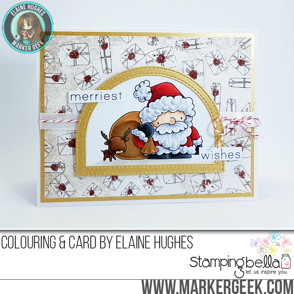 www.stampingbella.com :RUBBER STAMP FEATURED: THE LITTLES SANTA'S LOOT. Card by Elaine Hughes