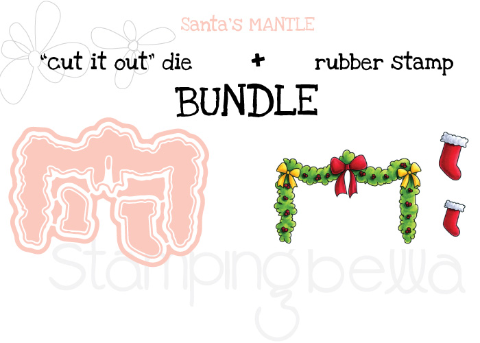 STAMPING BELLA RUBBER STAMP BUNDLE: LITTLE BITS SANTAS MANTLE