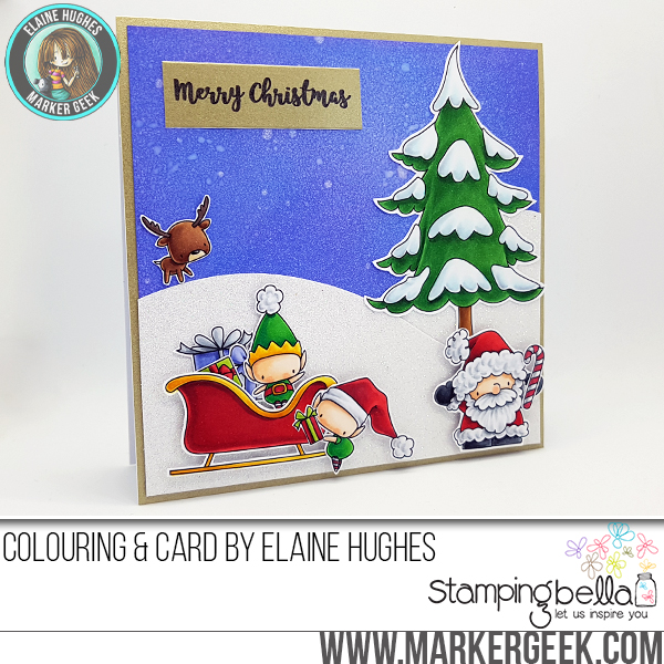 www.stampingbella.com: RUBBER STAMP FEATURED: LITTLE BITS set of ELVES and HOLIDAY SENTIMENT SET card by Elaine Hughes