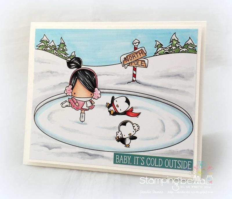 Stamping bella rubber stamps used: LITTLE BITS FIGURE SKATERS, SKATING RINK BACKDROP, SKATING QUARTET. Card by Sandie Dunne