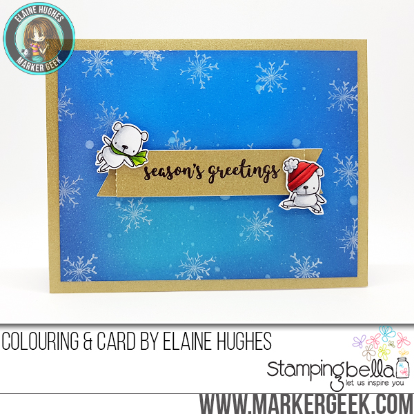 Stamping bella rubber stamps used: HOLIDAY SENTIMENT SET and SKATING QUARTET. Card by Elaine Hughes