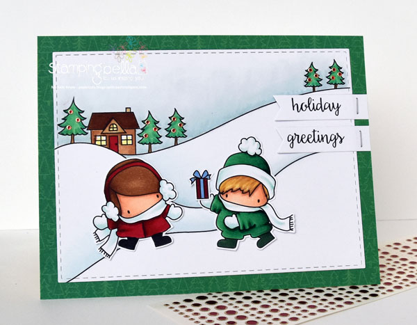 Stamping Bella Rubber stamp: Little Bits SLEDDING SET , HOLIDAY SENTIMENTS SET and SANTAS GIFTS set CARD BY MICHELE BOYER