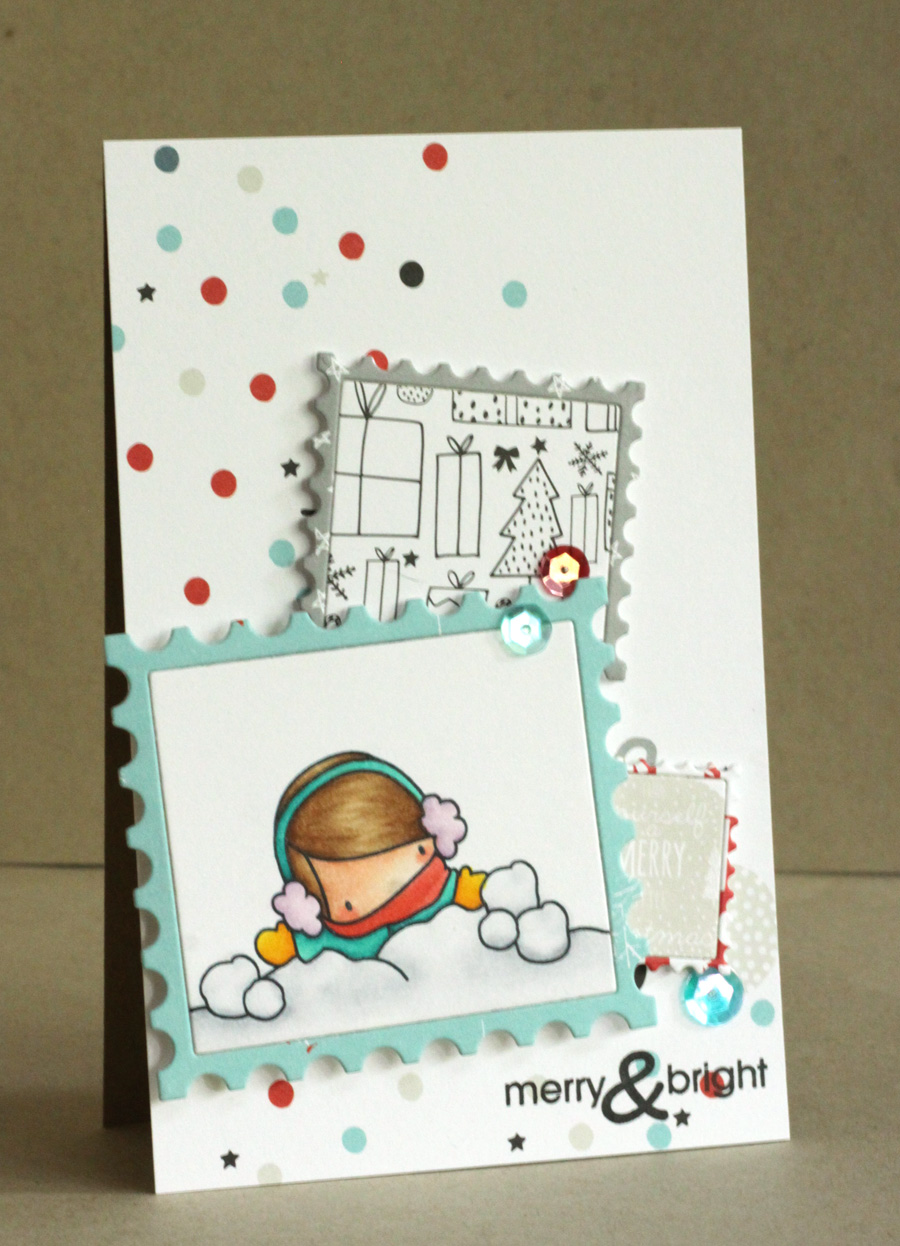www.stampingbella.com : Rubber stamp called THE LITTLES SNOWBALL GIRL card by ALICE WERTZ