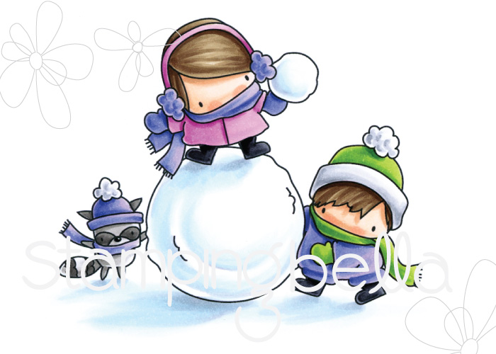 www.stampingbella.com : Rubber stamp called THE LITTLES snowfight
