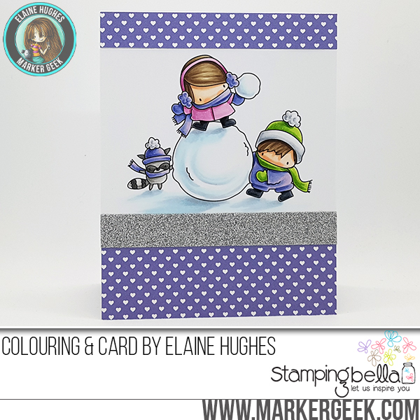 www.stampingbella.com : Rubber stamp called THE LITTLES SNOWFIGHT card by Elaine Hughes