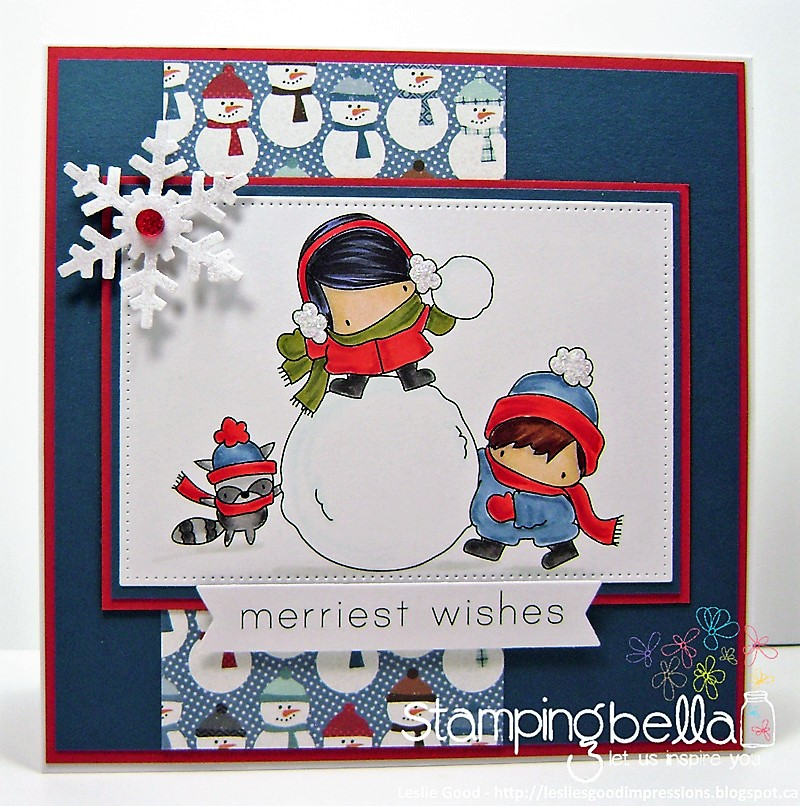 www.stampingbella.com : Rubber stamp called THE LITTLES SNOWFIGHT card by Leslie Good
