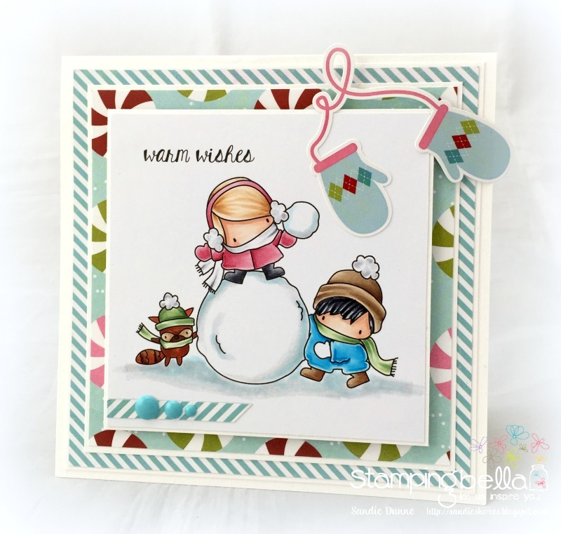 www.stampingbella.com : Rubber stamp called THE LITTLES SNOWFIGHT and HOLIDAY SENTIMENTS set card by Sandie Dunne
