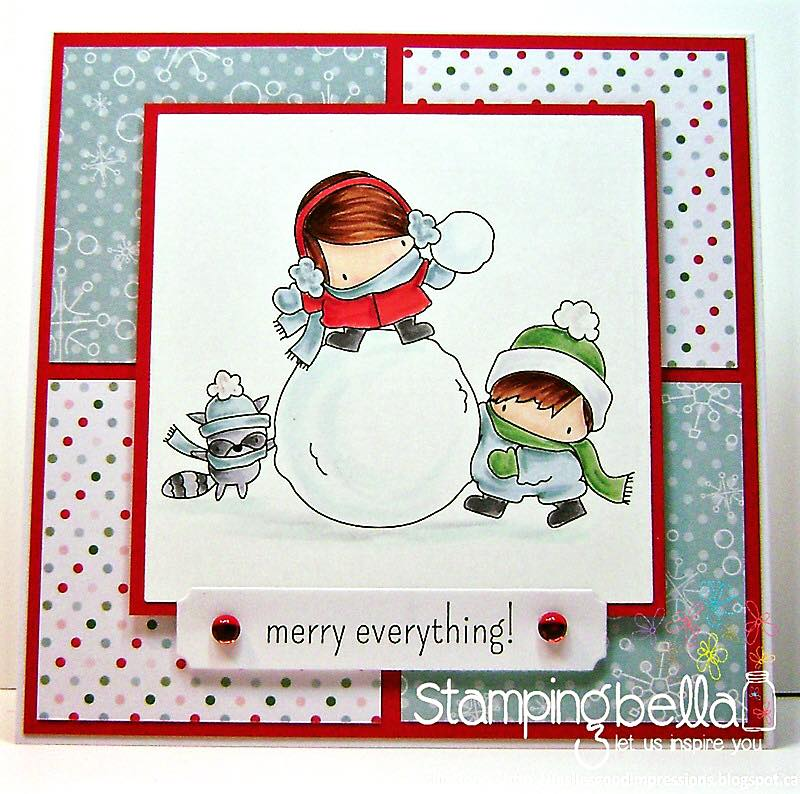 www.stampingbella.com- RUBBER STAMPS used: THE LITTLES SNOWFIGHT, card made by LESLIE GOOD
