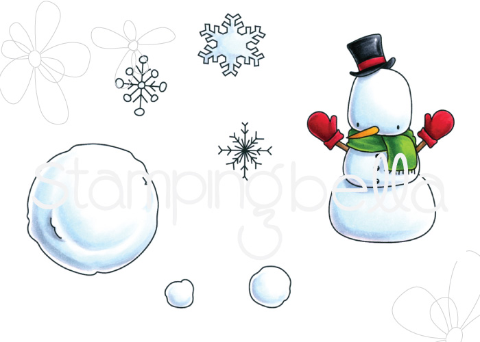 www.stampingbella.com : Rubber stamp called LITTLE BITS SNOWMAN SET