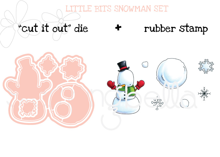 www.stampingbella.com : BUNDLE called LITTLE BITS SNOWMAN SET