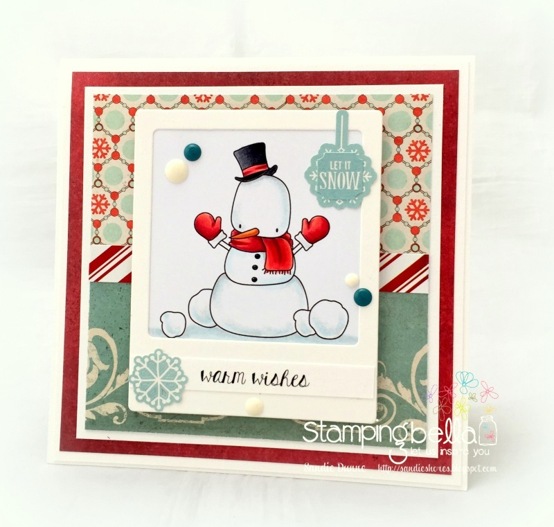 www.stampingbella.com : Rubber stamp called LITTLE BITS SNOWMAN SET, HOLIDAY SENTIMENT SET card by Sandie Dunne