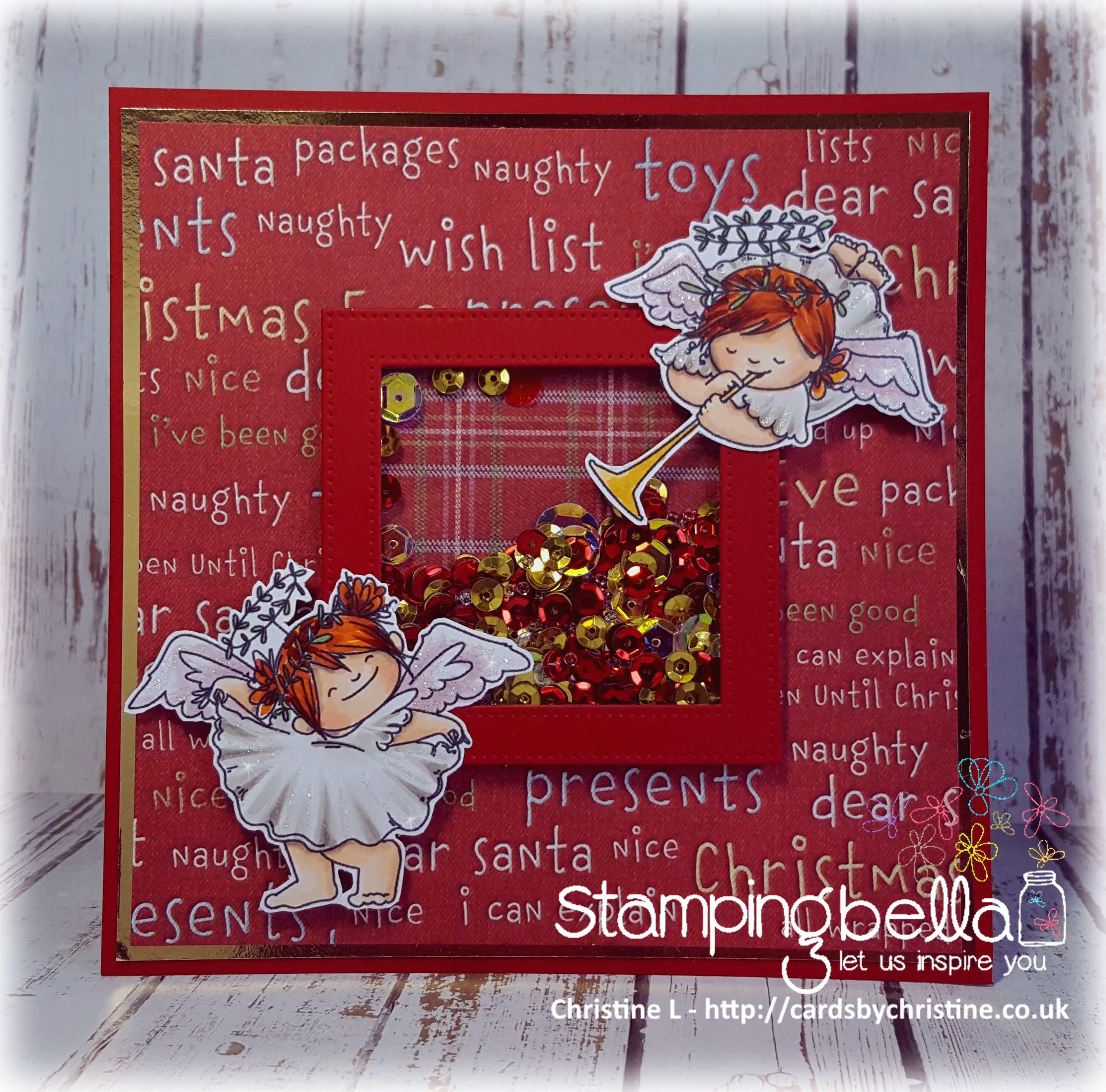 Stamping Bella RUBBER STAMPS: Stamps used: SQUIDGY ANGELS CURTSY and TRUMPET set Card by Christine Levison