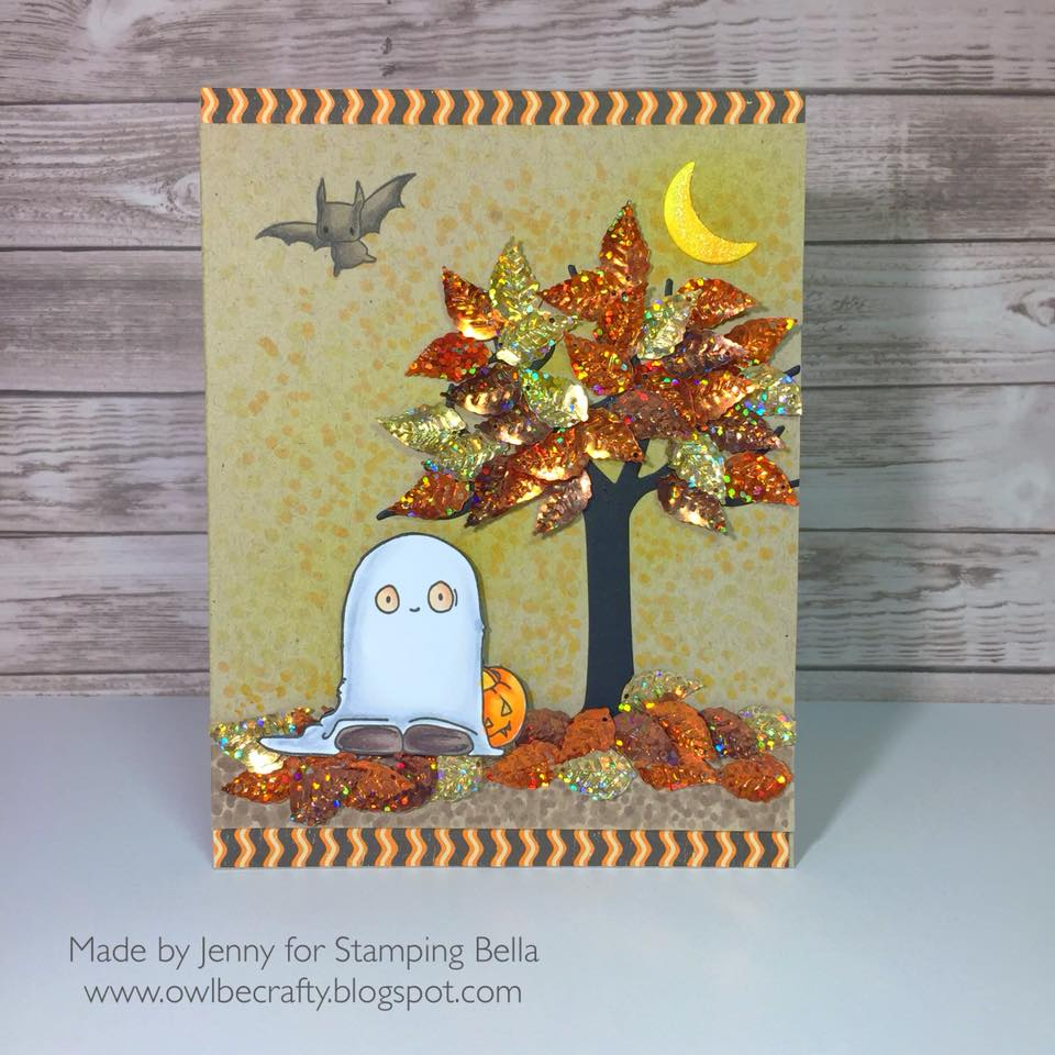 stamping bella rubber stamps: squidgy ghost Trick or treater and bat from Little Bits Haunted House Outdoor Decor cardby Jenny Bordeaux