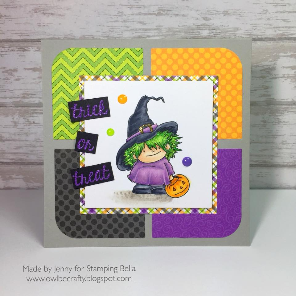 www.stampingbella.com- RUBBER STAMPS used: SQUIDGY WITCHY card made by JENNY BORDEAUX