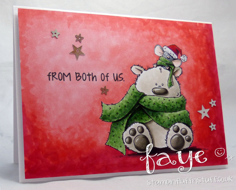 Stamping Bella WINTER/CHRISTMAS 2017 RELEASE: RUBBER STAMP USED:POLAR BEAR and MOUSIE, card by Faye WYNN Jones