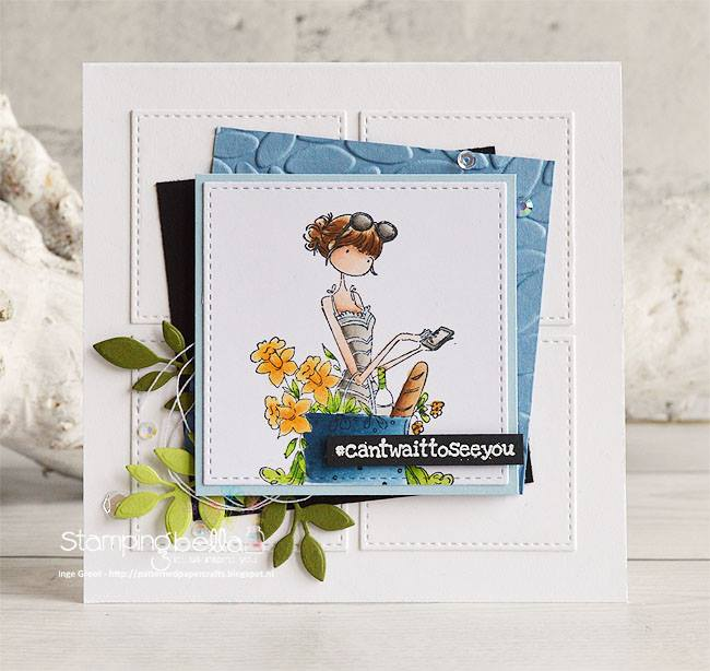 www.stampingbella.com- RUBBER STAMPS used: UPTOWN GIRL TIFFANY LOVES TO TEXT, card made by INGE GROOT