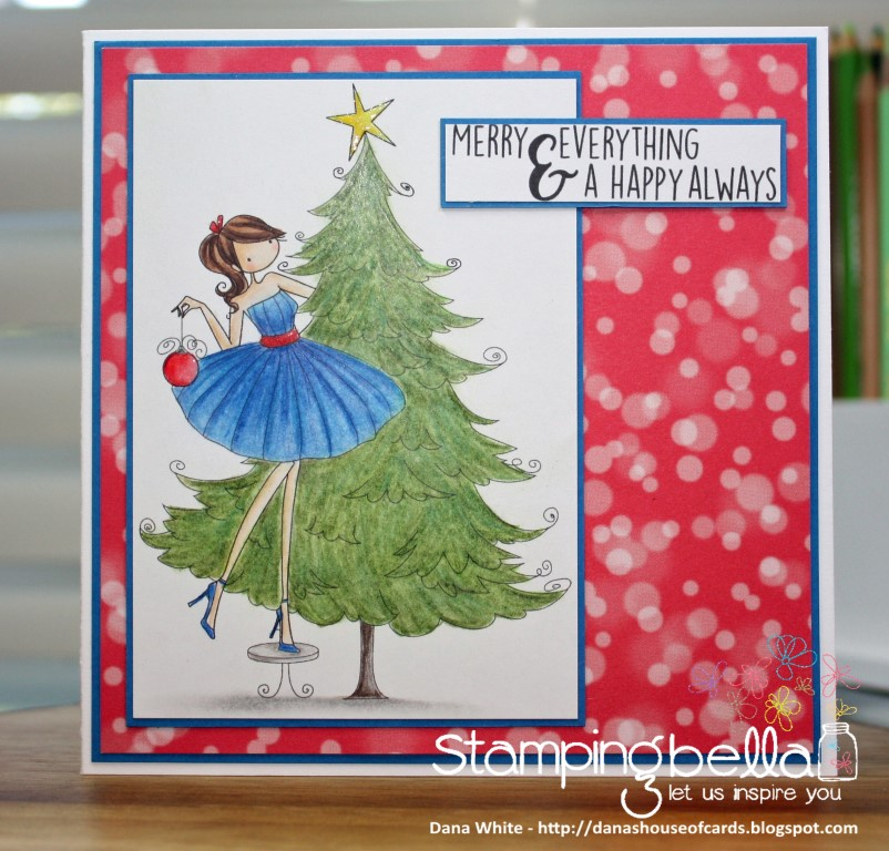 www.stampingbella.com: RUBBER STAMP FEATURED: UPTOWN GIRL TINA TRIMS THE TREE. Card By Dana White