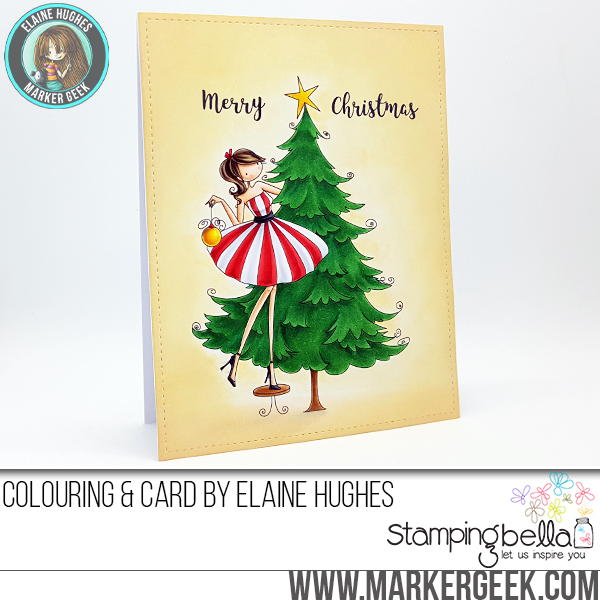 www.stampingbella.com: RUBBER STAMP FEATURED: UPTOWN GIRL TINA TRIMS THE TREE. Card By Elaine Hughes