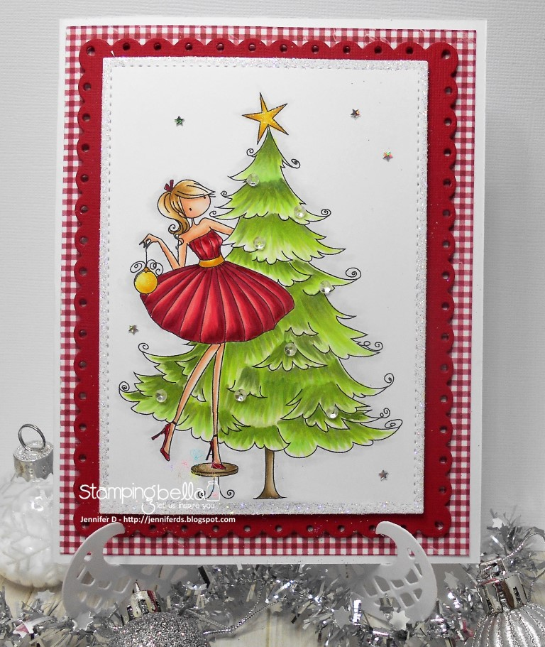 www.stampingbella.com: RUBBER STAMP FEATURED: UPTOWN GIRL TINA TRIMS THE TREE. Card By JENNY DIX