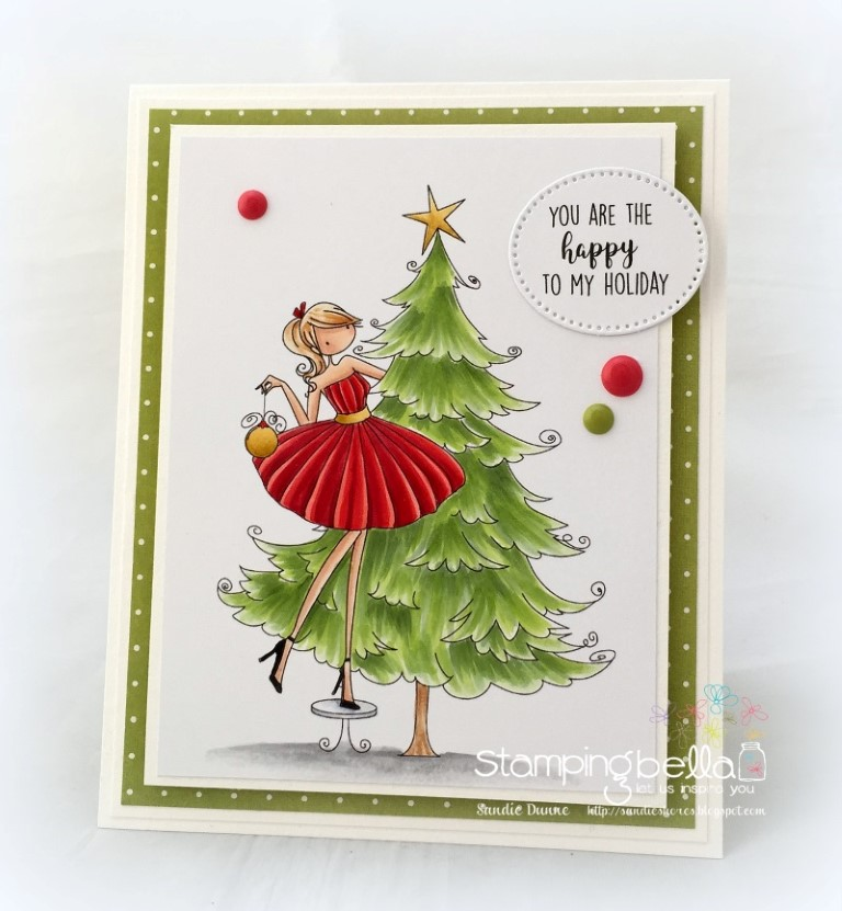 www.stampingbella.com: RUBBER STAMP FEATURED: UPTOWN GIRL TINA TRIMS THE TREE. Card By Sandie Dunne