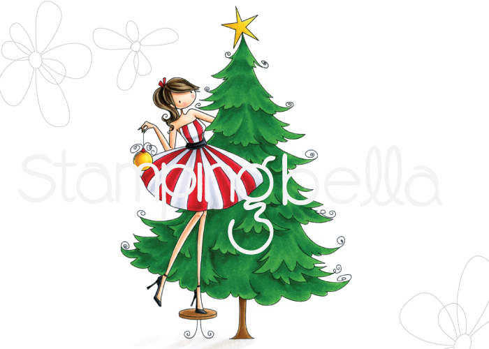 www.stampingbella.com: RUBBER STAMP FEATURED:UPTOWN GIRL TINA trims the TREE