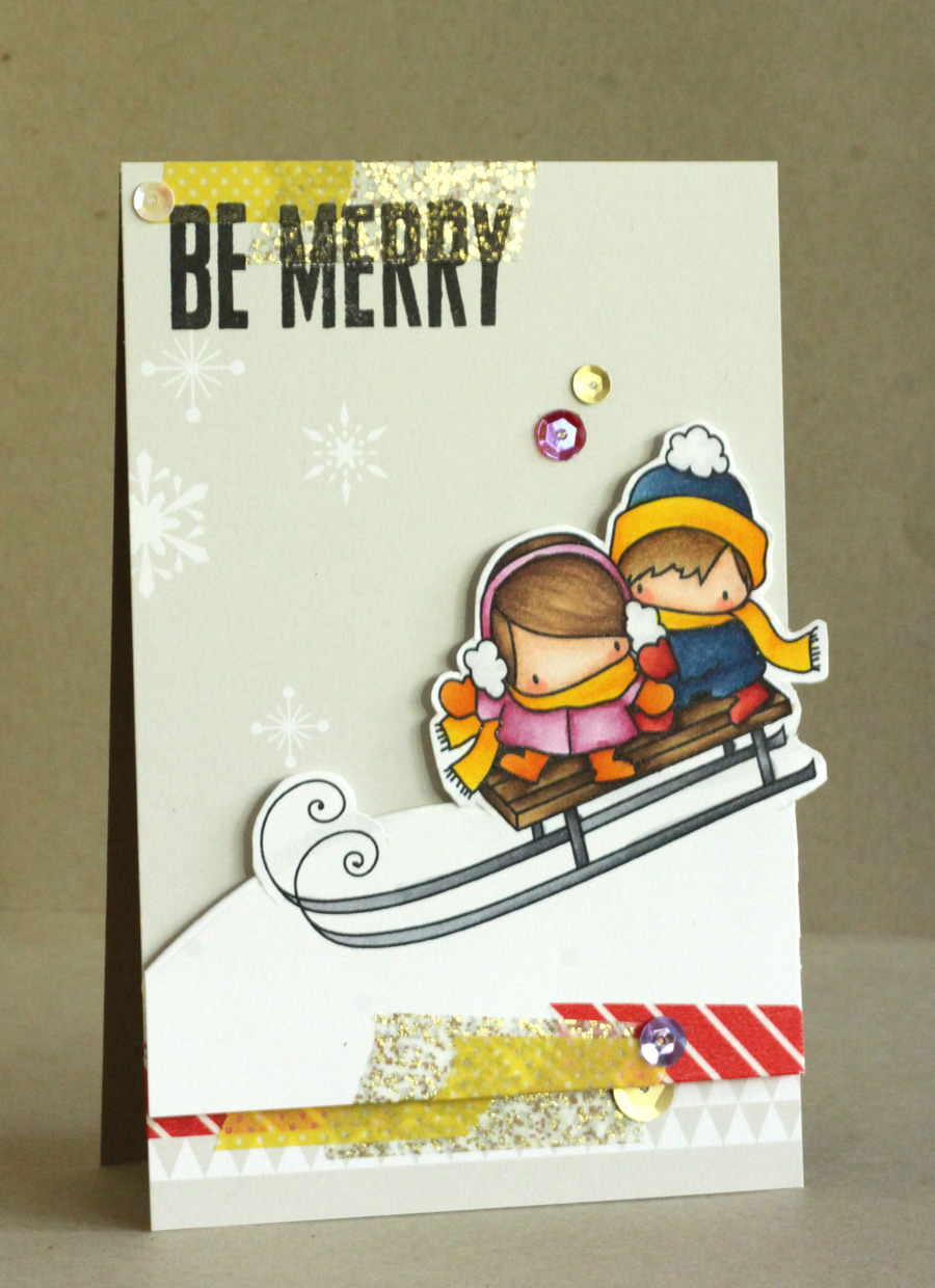 Stamping Bella Rubber stamp: THE LITTLES TOBOGGANING card by Alice Wertz