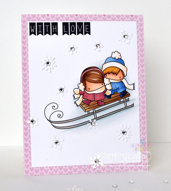 Stamping Bella Rubber stamp: THE LITTLES TOBOGGANING and HOLIDAY SENTIMENTS SET card by Michele Boyer