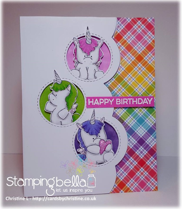 www.stampingbella.com: rubber stamp used: SET OF UNICORNS, card made by CHRISTINE LEVISON