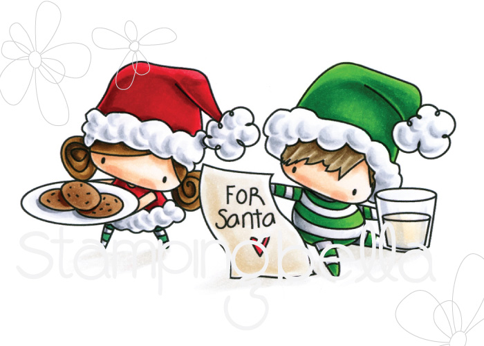 STAMPING BELLA RUBBER STAMP: THE LITTLES WAITING FOR SANTA