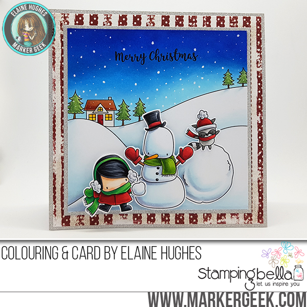 www.stampingbella.com : Rubber stamp called LITTLE BITS SNOWMAN set, LITTLE BITS SLEDDING SET, WINTER BACKDROP, HOLIDAY SENTIMENT SET card by Elaine Hughes