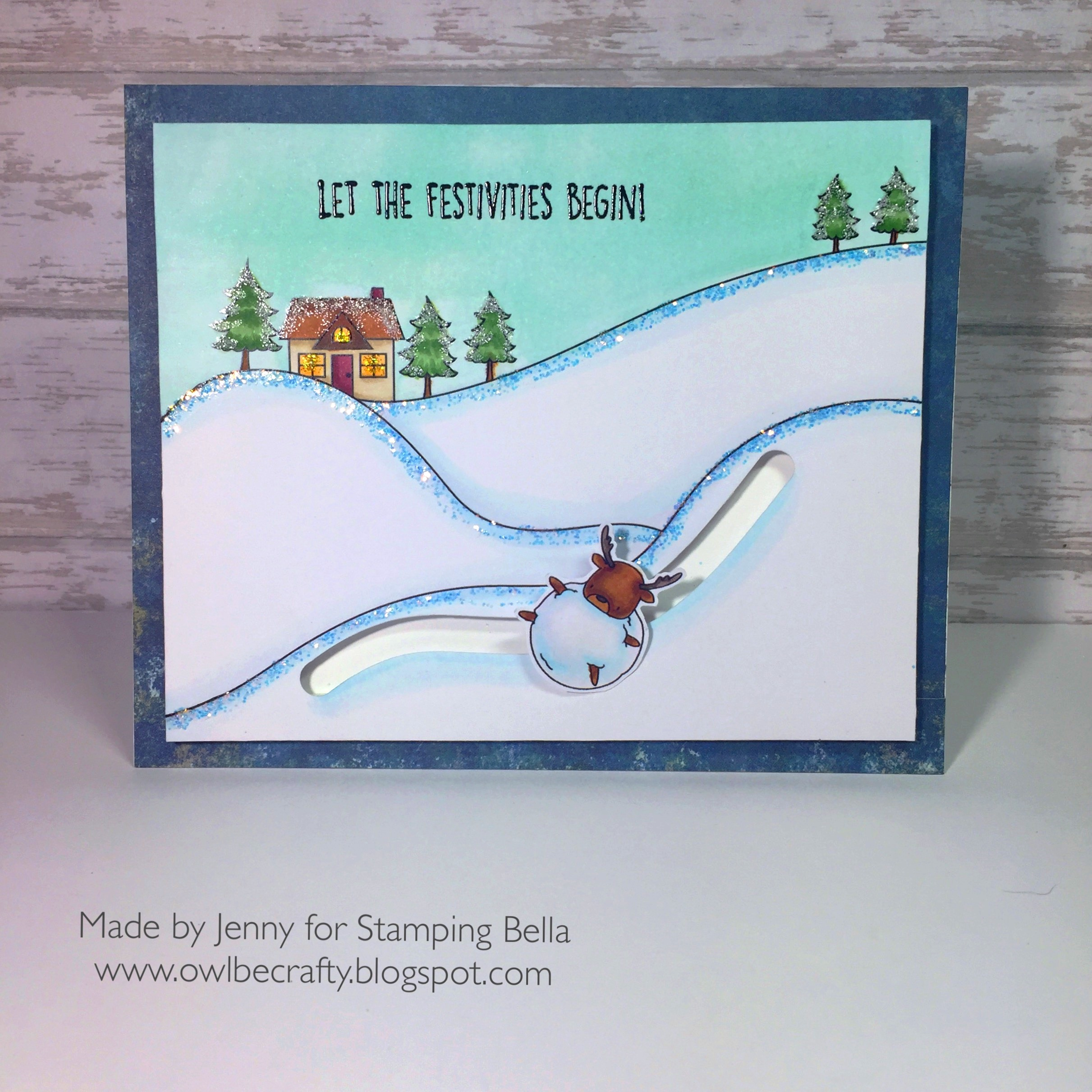 Stamping bella rubber stamps used:WINTER BACKDROP, and LITTLE BITS WINTER TREE and DEERBALL Card by JENNY BORDEAUX