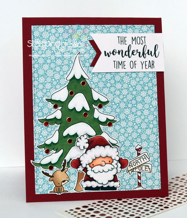 Stamping Bella Rubber stamp: LITTLE BITS Santa's gifts, LITTLE BITS WINTER TREE and DEERBALL, HOLIDAY SENTIMENTS, SKATING QUARTET CARD BY Michele Boyer
