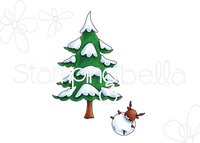 Stamping bella rubber stamps LITTLE BITS WINTER TREE and DEERBALL