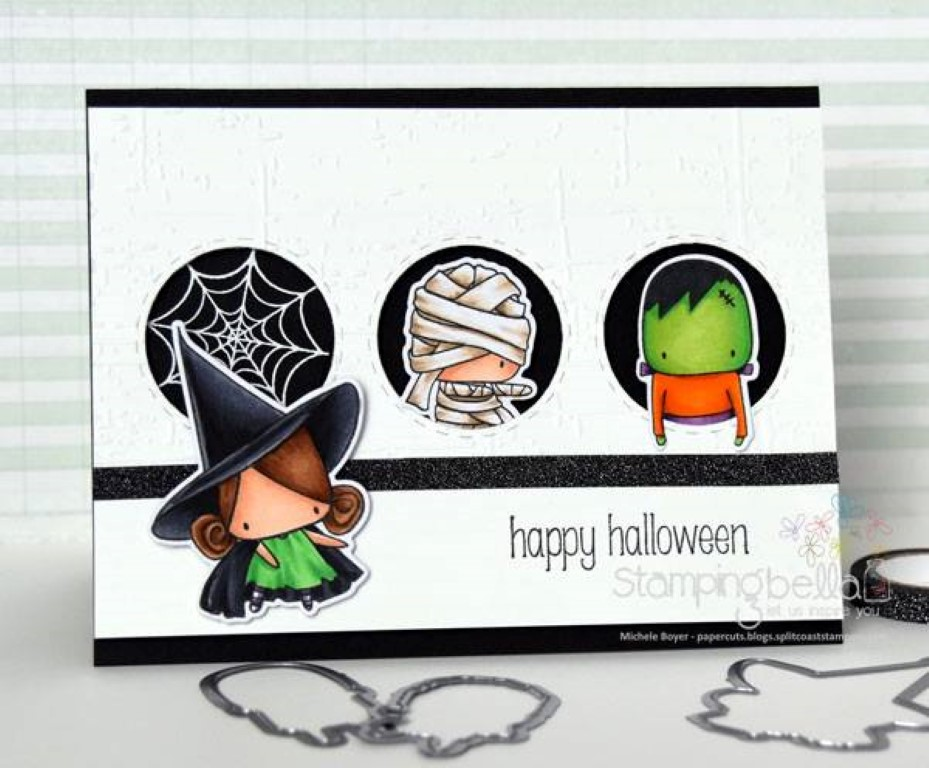 www.stampingbella.com: rubber stamp used: LITTLE BITS MUMMY FRANKIE AND GHOSTY , and LITTLE BITS LITTLE WITCHIES, card made by MICHELE BOYER