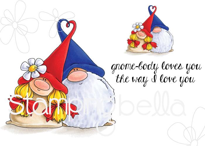 www.stampingbella.com- RUBBER STAMP: LOVEY GNOMES