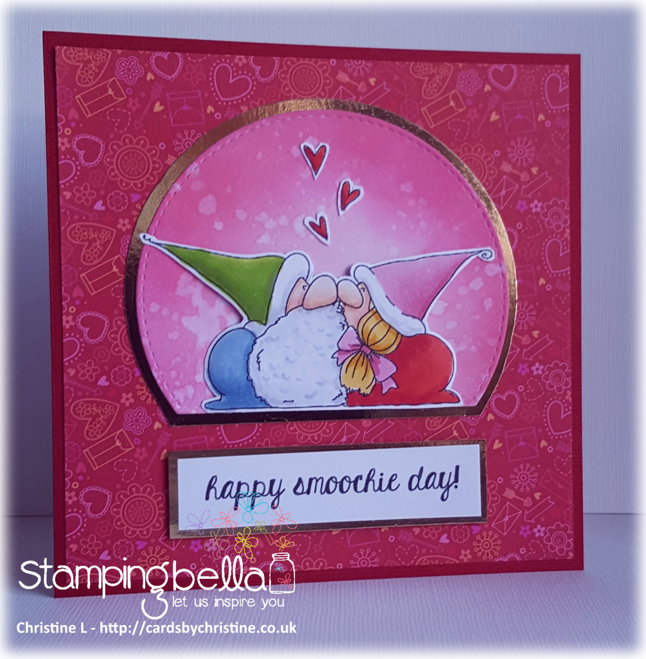 www.stampingbella.com- RUBBER STAMP USED:SMOOCHIE GNOMES, card made by Christine Levison