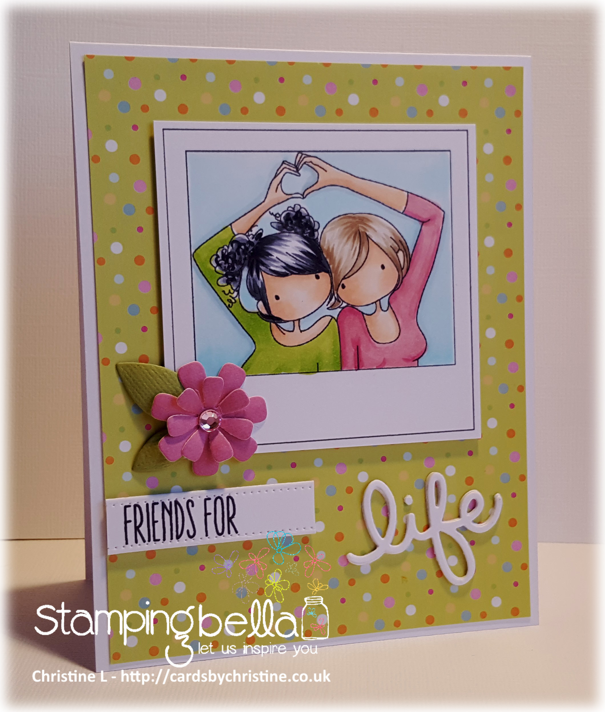 www.stampingbella.com- RUBBER STAMP USED: SNAPSHOTS I HEART YOU, card made by Christine Levison