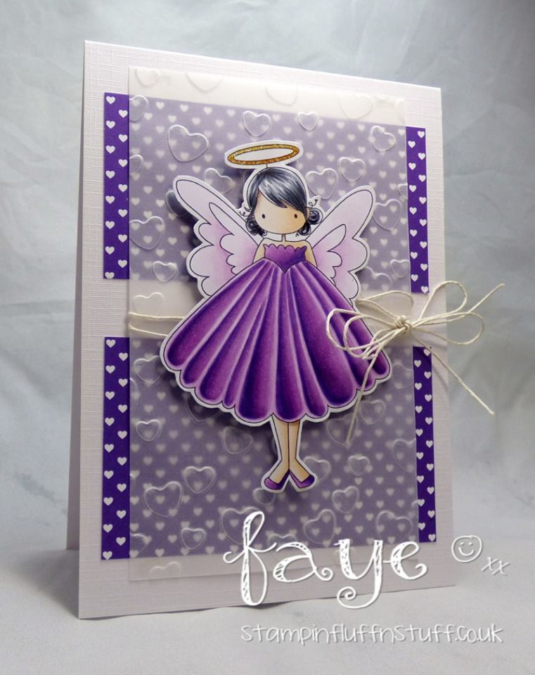 www.stampingbella.com:  rubber stamp used: TINY TOWNIE ANNIE the ANGEL, card made by FAYE WYNN JONES