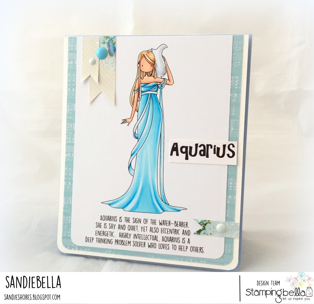 www.stampingbella.com December 2017 release. Rubber Stamp used: UPTOWN ZODIAC GIRL AQUARIUS. Card by Sandie Dunne