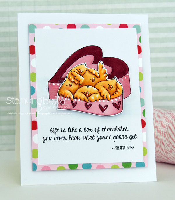 www.stampingbella.com: RUBBER STAMP USED : BOX OF CHOCOLATE CHICKS, card made by MICHELE BOYER