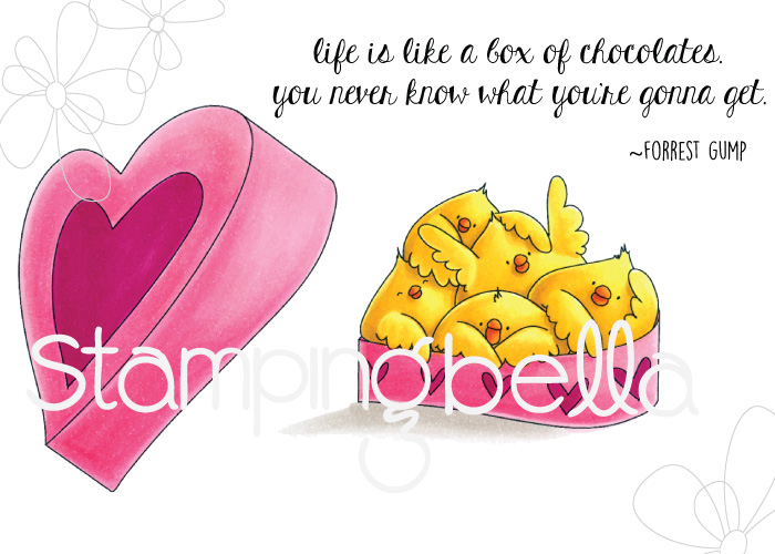 www.stampingbella.com: RUBBER STAMP: BOX OF CHOCOLATE CHICKS