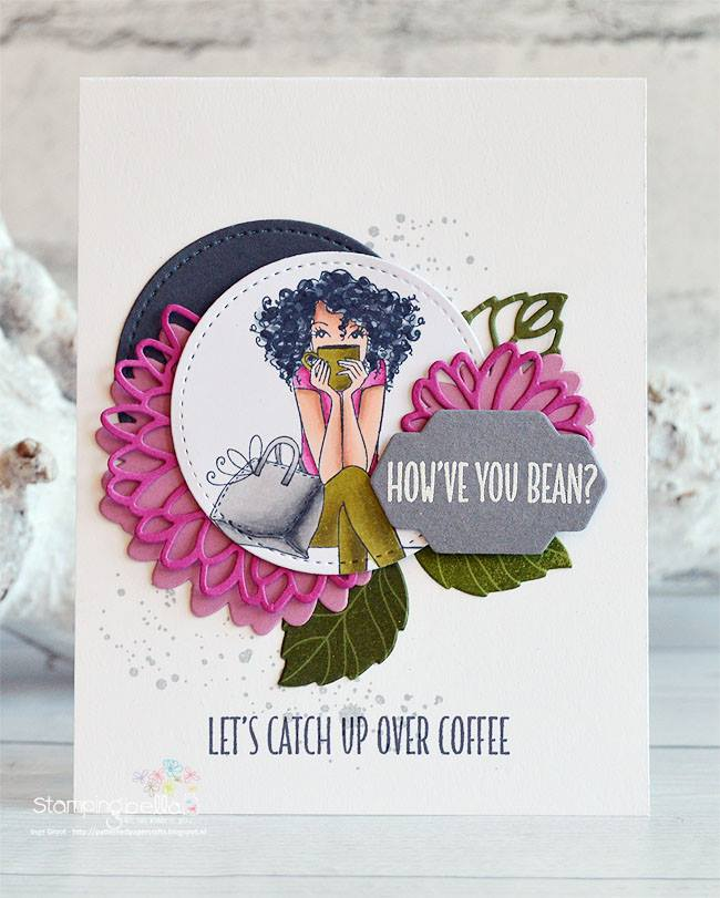 www.stampingbella.com: Rubber stamp used: DONTTALKTOMEBEFOREMYCOFFEEABELLA card made by INGE GROOT
