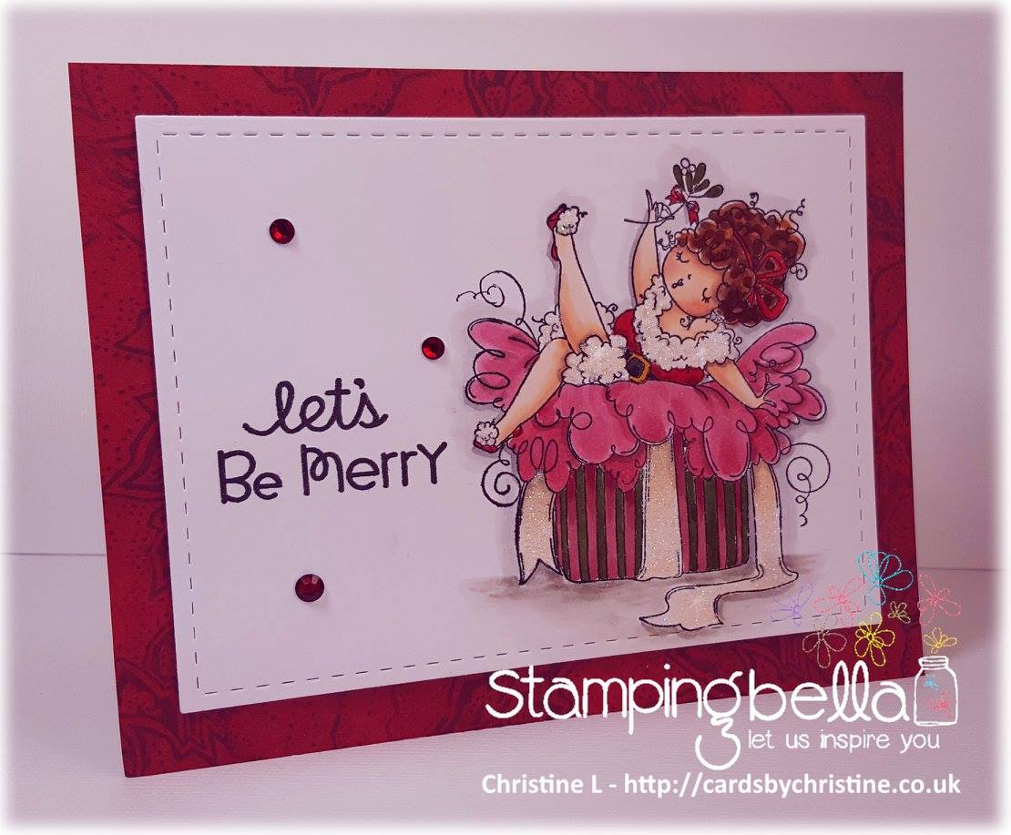 www.stampingbella.com: Rubber stamp used: EDNA under the MISTLETOE, card made by Christine Levison