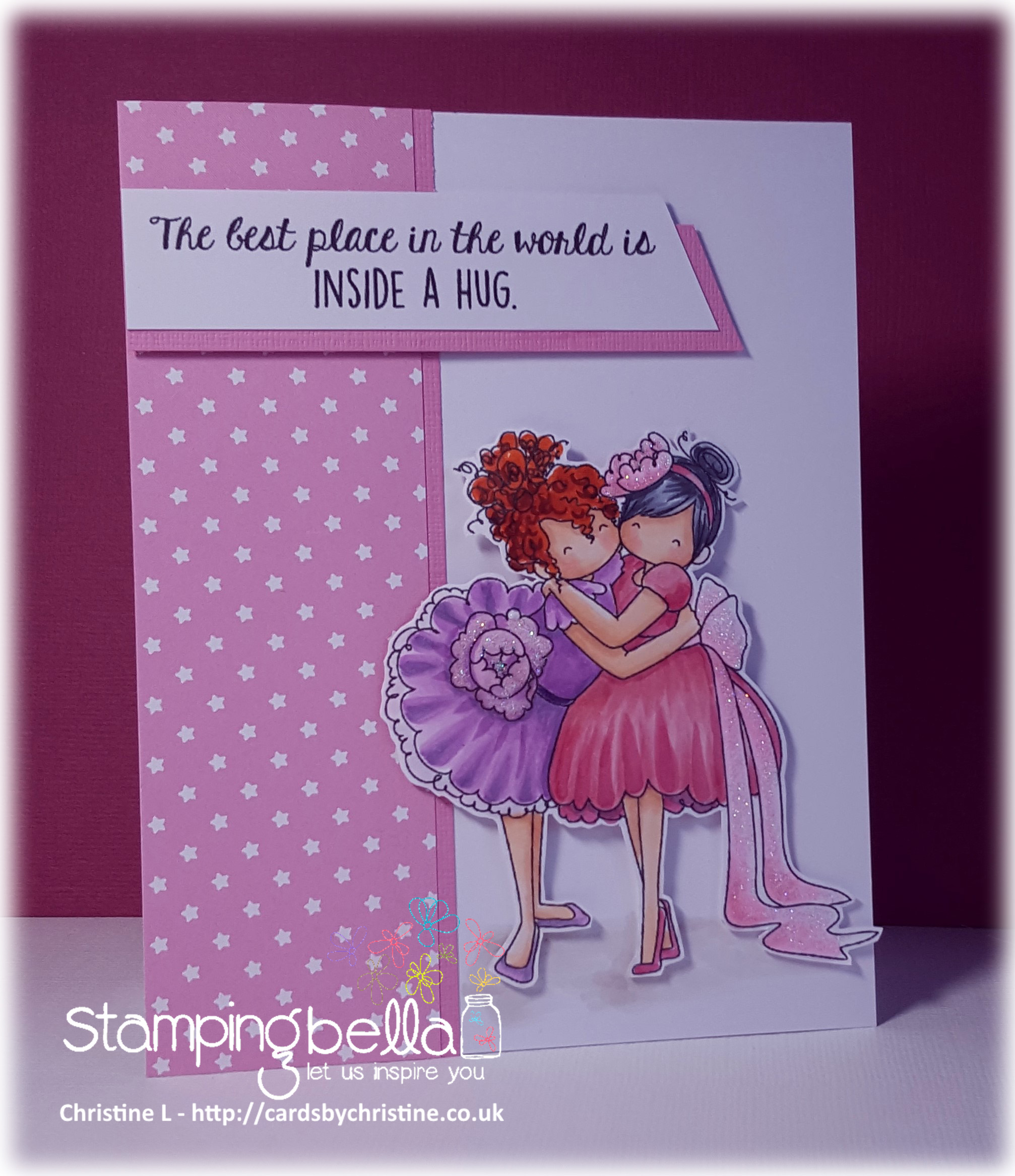 www.stampingbella.com: RUBBER STAMP USED : TINY TOWNIE HUGGY FRIENDS, card made by CHRISTINE LEVISON
