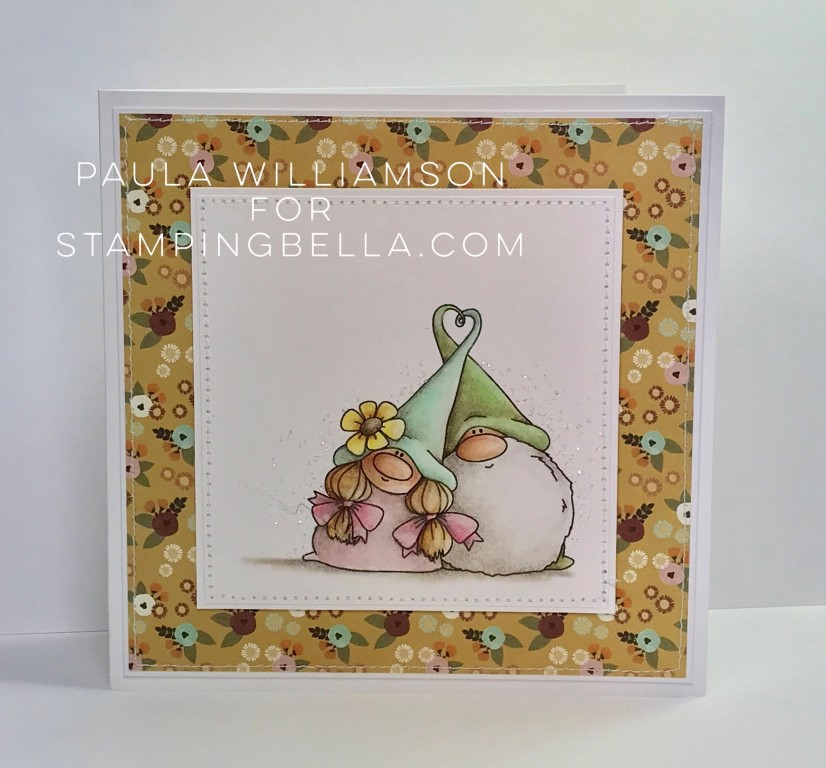 www.stampingbella.com- RUBBER STAMP USED: LOVEY GNOMES, card made by Paula Williamson