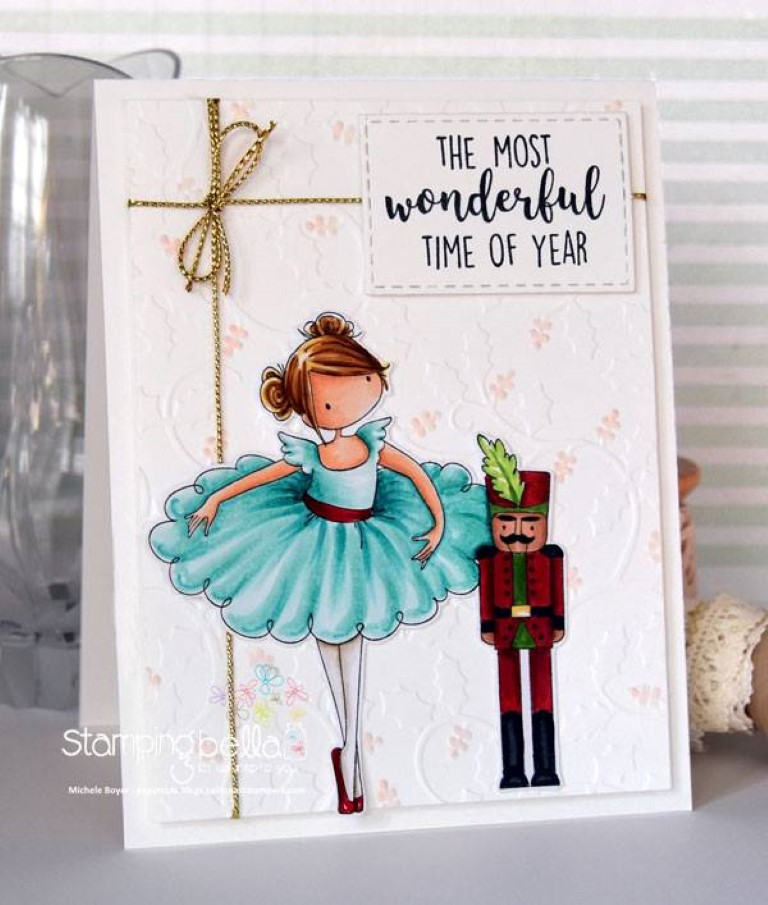 www.stampingbella.com: RUBBER STAMP USED : TINY TOWNIE NATALIE and the NUTCRACKER card by Michele Boyer