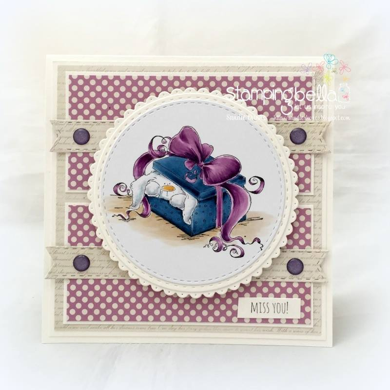 www.stampingbella.com:  rubber stamp used: PEEKABOO BUNNY STUFFIE, card made by SANDIE DUNNE
