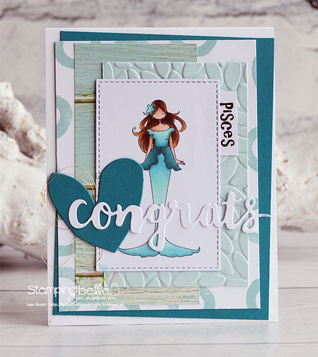 www.stampingbella.com December 2017 release. Rubber Stamp used: UPTOWN ZODIAC GIRL PISCES. Card by Inge Groot